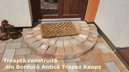 Treaptă construită din Bordură Antică Trapez Keops